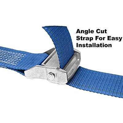 CustomTieDowns 2 Inch x 10 Foot Cinch Strap Endless Loop Tie Down (no Hooks), Zinc Rust Proof Cam Buckle. (Dark Blue): Home Improvement