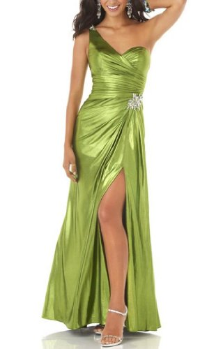 der Schulter Grün Riemen GEORGE Abendkleid Detail Sexy Seitliche BRIDE Rueckseite auf Eingriff Perlen Ein OgwqEgv