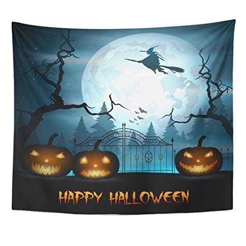 Emvency Wall Tapestry Blue Autumn Halloween with Fly Witch and Pumpkin on Graveyard Bat Broom Celebration Cemetery Creepy Culture Dark Decor Wall Hanging Picnic Bedsheet Blanket 60x50 -