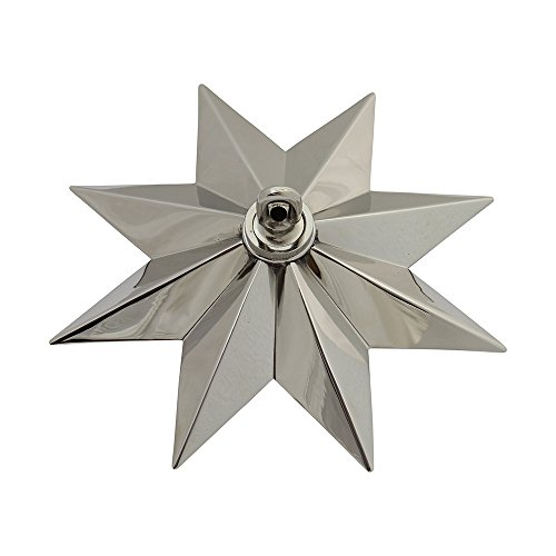 RCH Hardware CN-11-PN CN-11-S-H-PN Solid Brass Decorative Star Shaped Ceiling Canopy Medallion Accent for Chandeliers and Pendant Lighting with Matching Screw Collar and Loop Polished Nickel by RCH Hardware (Image #2)