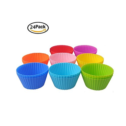 Ksmxos 24Pcs Reusable Silicone Baking Cups For Cake Muffin Molds,Cupcake Liners 8 (Popcorn Balls Halloween Recipe)