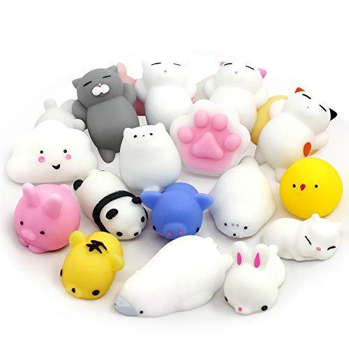(Mochi Animals Squishies Toys 16 PCS Kawaii Animals Stress Relief Toys Cute Design Animals Mini Squishies Soft Stretchy Squeeze Toys Mini Panda Seal Polar Bear Fox Rabbit Cat and More Squishies)