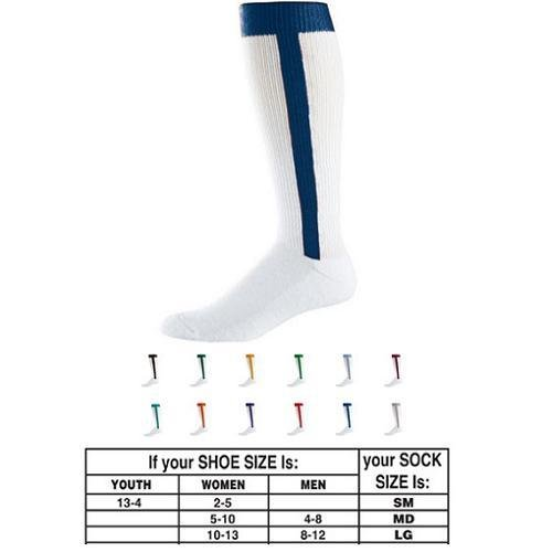 Baseball/Softball Stirrup and Sock Two-in-One (4 Sizes, T-Ball Youth XS, Youth/Little League, Juniors/Babe Ruth, Adult. 12 Colors)