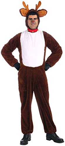 Forum Novelties Plush Reindeer Costume, Brown, Standard (One Size Fits Most Adults) (Reindeer Adult Costume)