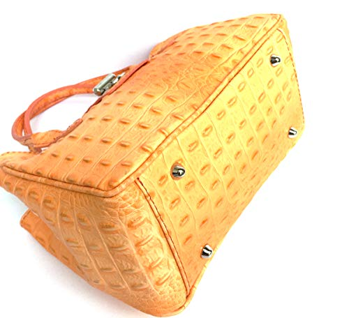 Croco Imprimé Superflybags Model Main Orange En Cuir Italy Small Véritable Milena Sac Crocodile À Made In PHxqnYP