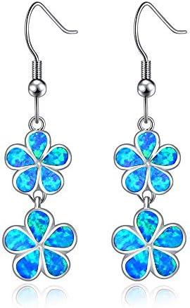 CiNily White Gold Plated Oval Shaped//Flower Shaped Opal Zircon Hypoallergenic Stud Earrings Women Jewelry Gift Gemstone Stud Earrings