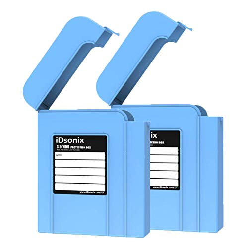 2X iDsonix 3.5 IDE/SATA HDD External Protection Boxes/Hard Drive Protective Storage Bags Blue