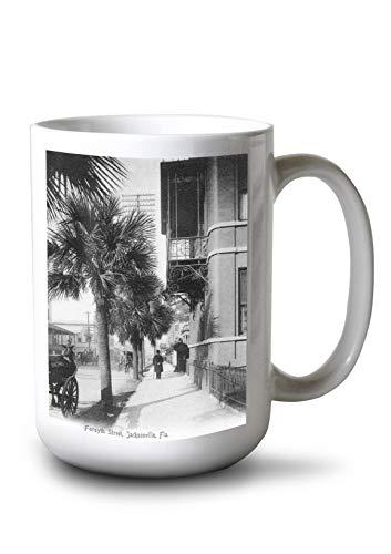 Lantern Press Jacksonville, Florida - View Down Forsyth Street (15oz White Ceramic Mug)