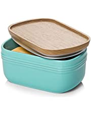 DOWAN Porcelain Butter Dish, Extra Large Butter Dish with Cover, Airtight Butter Dish with Wooden Lid, Farmhouse Butter Container for East West Coast Butter, Freezer Safe