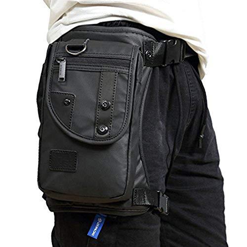 HCoolfly Waterproof Oxford Drop Leg Bag for Men Motorcycle Riding Mens Fanny Pack Multi-Function Travel Fishing Hiking Cycling Black (Black)