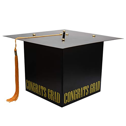 (MerryJoyParty Graduation Card Box Graduation Card Holder Original Graduation Cap Shaped Card Box with Real Tassel for Graduation Party)