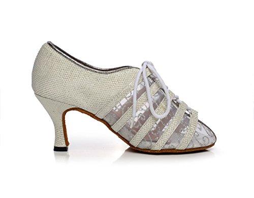 Minishion Qj6229 Femmes Couleur Bloc Satin Latin Chaussures De Danse Salsa Argent