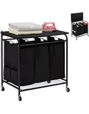 HollyHOME Laundry Sorter Cart with Foldable Ironing Board with Removable 3 Bags