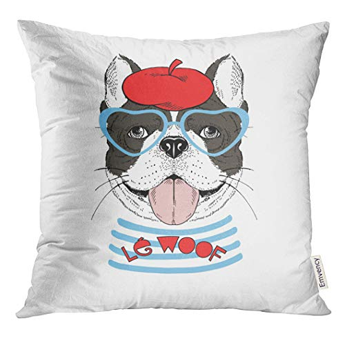 UPOOS Throw Pillow Cover Paris French Bulldog Dressed Up in Parisian Chic Style Graphic Animal Wall Woof Decorative Pillow Case Home Decor Square 18x18 Inches Pillowcase]()