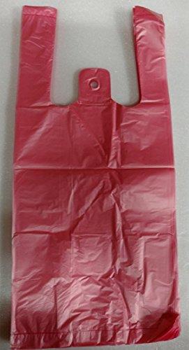 (Plastic T-shirt Shopping Bags (6x3x13 14 Mic) (1000, Red))