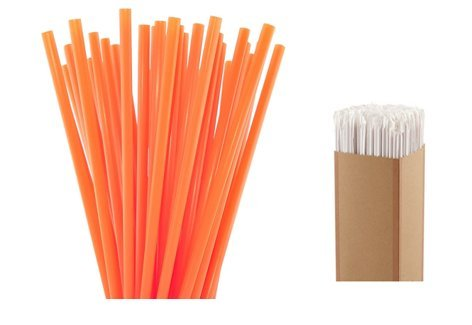 500 COUNT Spirit Foodservice HEAVY Plastic Individually Wrapped 7.75-inch Neon ORANGE Stirrer Straw