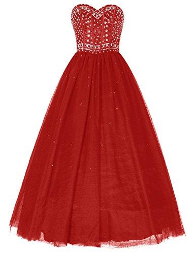 Dresstells®Vestido De Fiesta Vestido De Gala Princesa Largo Escote Corazón Rojo