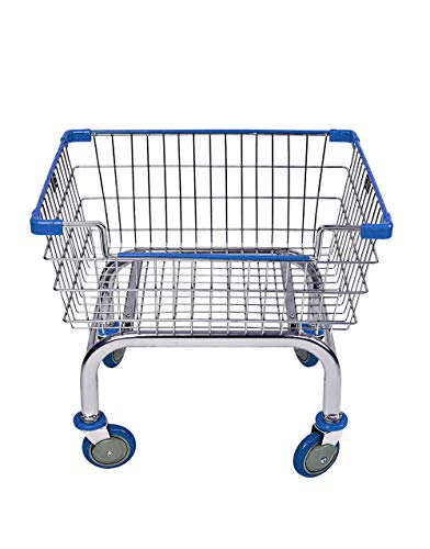 Coin Laundry Cart, CART&SUPPLY [Heavy Duty] [Rolling Cart] Laundry Cart (Chrome/Blue) Without Pole Rack