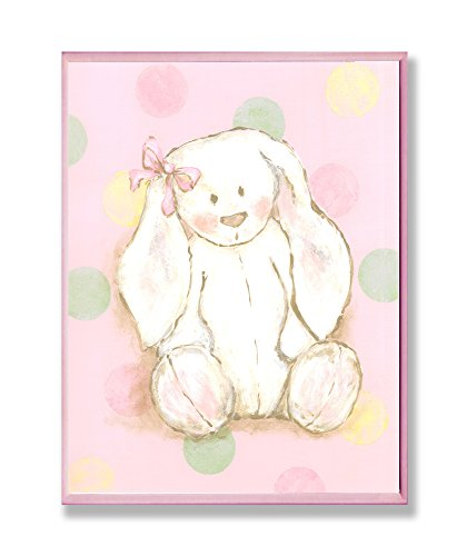 [The Kids Room by Stupell Bunny with Polka Dot Background Rectangle Wall Plaque] (Animals That Starts With Letter E)