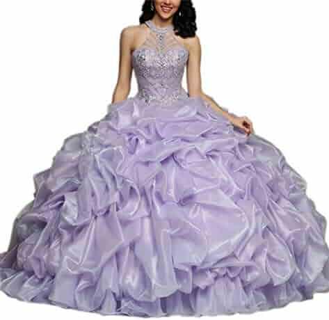 ac2fe722d4 Junguan Sweet Women High Neck Backless Pageant Girls Quinceanera Dresses