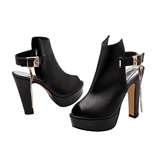 ENMAYER Womens Platform Square Heel Buckle Shoes Western High Heels Fashion Peep Toe Sandals Black x8TNh