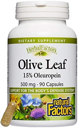 HerbalFactors by Natural Factors, Olive Leaf 500 mg, Supports the Body s Natural Defense Systems, 90 capsules 90 servings