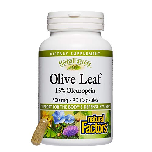 Natural Factors - HerbalFactors Olive Leaf 500mg, Support for the Body's Defense System, 90 Capsules