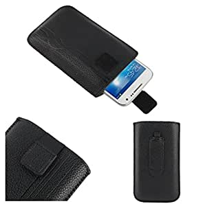 DFV mobile® - Pouch Case Lines Embossing & Belt Loop & Pull Tab Velcro for => Spice Smartflo Poise Mi-451 > Black