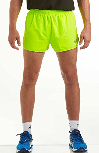 time to run Men's Lightweight Pace Running/Gym/Athletic/Training Shorts by Large Lime Green