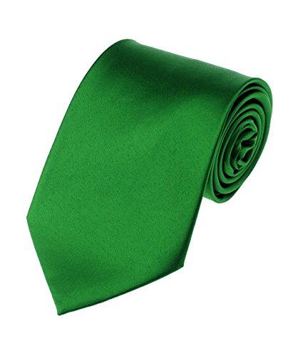 Men's Smooth Satin Solid Color Extra Long XL Necktie, Kelly Green
