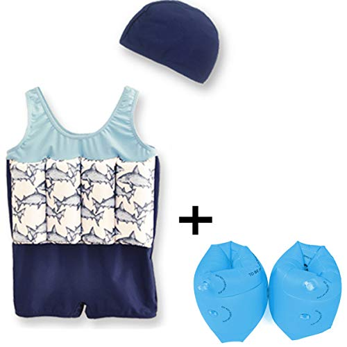 kissloves Kids Floatation Swimsuit Toddler Float Suit with Cap and Arm Bands Swimwear Swim Vests with Adjustable Buoyancy for Girls Boys (Blue, M (Height:35''-39''/ Weight:28-36lb)