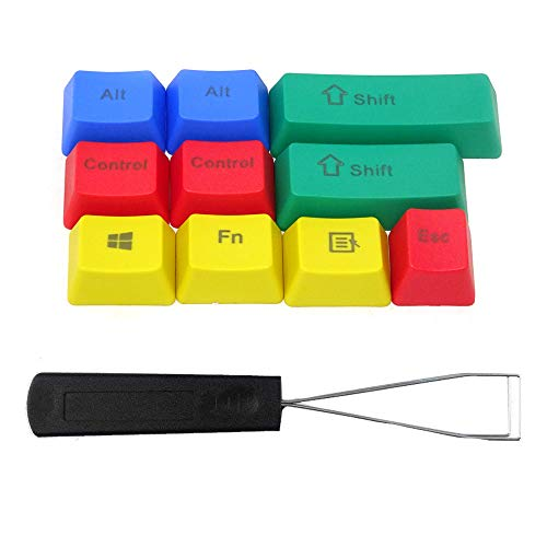 Honbay 10pcs PBT RGBY Mechanical Keyboard Keycaps with Steel Wire Key Puller