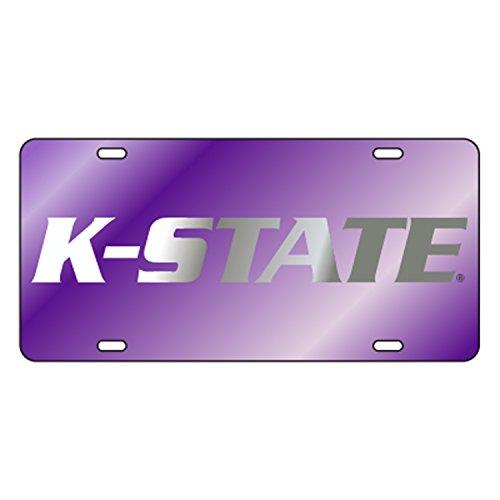 (KANSAS STATE Laser Cut Inlaid Acrylic Mirrored Plate Purple w/Silver K)