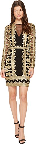 s Crown Emb/Mesh Illusion Dress, Black/Gold (Bgo), 6 (Nicole Miller Formal)