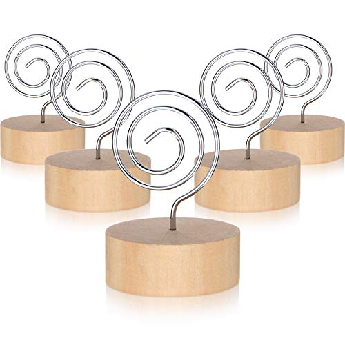 (15 Pack Wooden Base Place Card Holders Wooden Table Card Holder with Swirl Wire Picture Picks Clip Holder Stand Party Decoration Card Holders Picture Memo Note Photo Clip)
