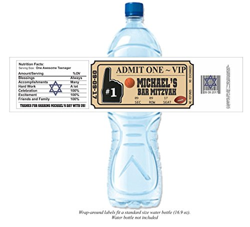 alized Water Bottle Labels (set of 24) (Party Destination Football)