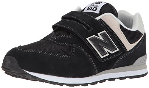 New Balance Boys' 574v1 Essentials Hook and Loop Sneaker,  Black/Grey, 3.5 W US Big Kid
