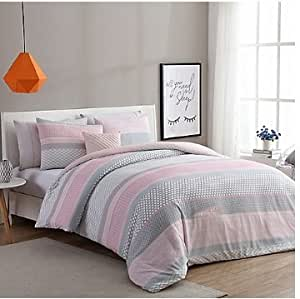 luxurious stockholm comforter set in pink grey twin twin xl home kitchen. Black Bedroom Furniture Sets. Home Design Ideas