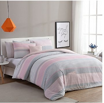 Charmant Luxurious Stockholm Comforter Set In Pink/Grey (TWIN/TWIN XL)