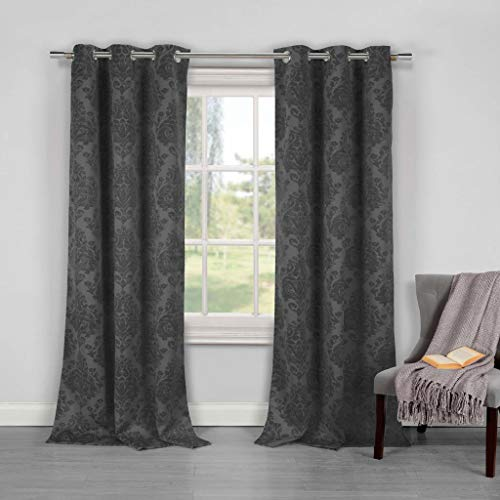 Duck River Textiles - Phelan Medallion Print Linen Textured Blackout Room Darkening Grommet Top Window Curtains Pair Panel Drapes for Bedroom, Living Room - Set of 2 Panels - 36 X 84 Inch - Grey (Vintage Linen Embroidered)