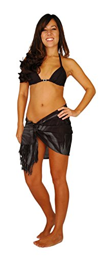 1 World Sarongs Womens Smoked Design Half/Mini Cover-up Sarong in Charcoal Gray - Smoked Design