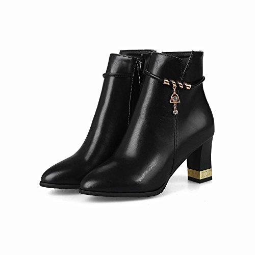 Mee Shoes Women's Fashion Mid Heel Block Heel Zip Ankle High Boots Black PxcTg4