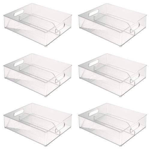 InterDesign Refrigerator and Freezer Storage Organizer Bins for Kitchen, 12'' x 4'' x 14.5'', Set of 6, Clear by InterDesign