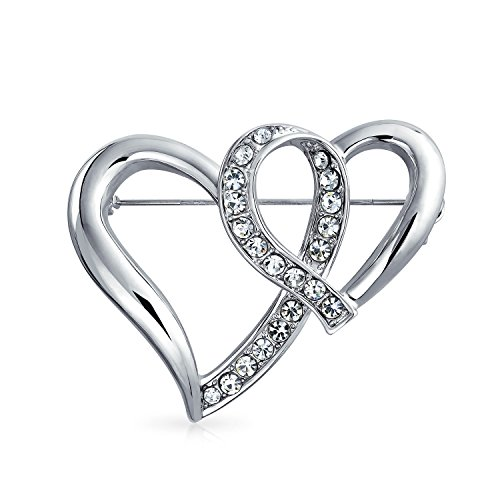 Bling Jewelry Fashion Large Crystal Open Ribbon Double Heart Scarf Brooch Pin for Women Silver Plated Brass
