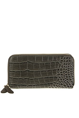 lcolette Strap grey Cricodile csw200 With Zipper Wrist Wallet Accented Double TTqwzrR0