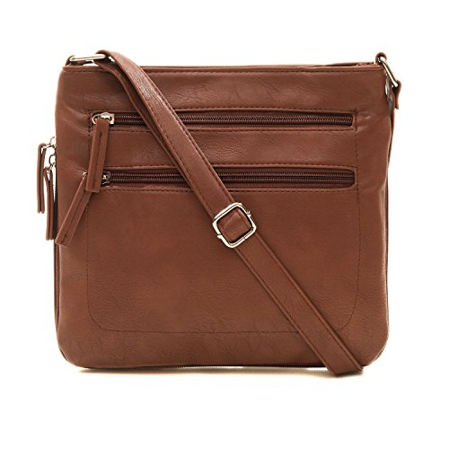 ASHLIE ROSE Women's Expandable Multi-Pocket, Adjustable Strap Crossbody Bag for Work, Leisure, Travel - Brown