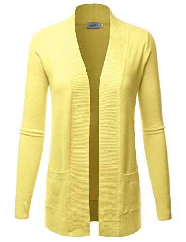(LALABEE Women's Open Front Pockets Knit Long Sleeve Sweater Cardigan-LEMONYELLOW-XL)