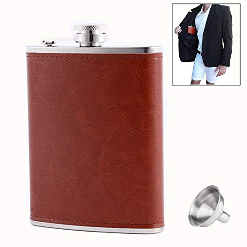 (Pocket Hip Flask 8 oz with Funnel, Alcohol Flask, Liquor Flask,18/8 Stainless Steel Brown/Black Leather Pocket Drinking Flask, 100% Leak Proof, For Liquor Shot Drinking (Brown))