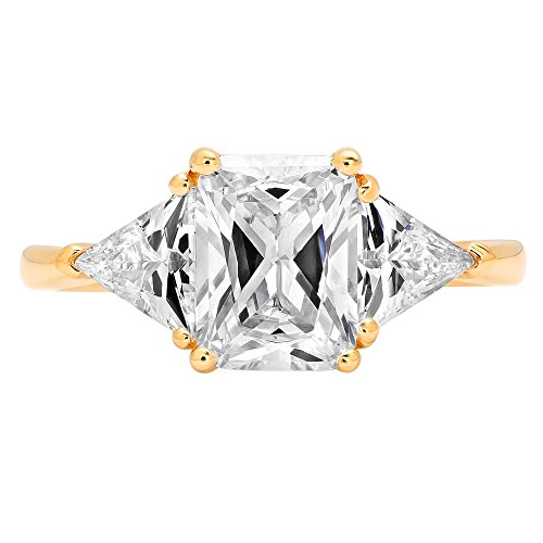 3.10 ct Three Stone Emereld and Trillion Brilliant Cut Statement Classic Designer Solitaire Anniversary Engagement Wedding Bridal Promise Ring Band in 14k Yellow Gold