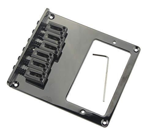 Telecaster Humbucker Bridge Assembly with 6 Saddles for Fender Tele Replacment Large Black